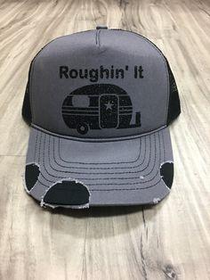 Roughin It Distressed Trucker Hat Customized Personalized Trucker Hat Foam  Mesh Women s 59ab76c88c3a