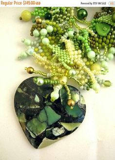 SALE Green jewelry Green necklace Beaded jewelry Necklace with