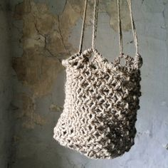 Hanging basket in macramé, raw jute rope hand made in France . Folk and raw