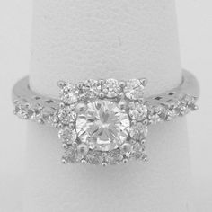 Square Halo with 1/2 Carat Cubic Zirconia Engagement Ring – CZ Sparkle Jewelry®