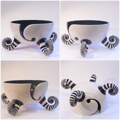 Black and white yarn bowl with stripey socks made to order at earthwoolfire.etsy.com