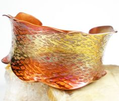 Hammered Copper Bracelet, Anticlastic Forged Copper, Colorful Copper, Womens Copper Bracelet, Copper Jewelry,  Heat Patina-Ode to Pastels