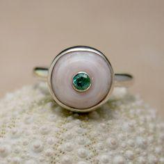 Puka Shell Ring Sterling Silver Apatite Gemstone Hawaiian Jewelry. $115.00, via Etsy.