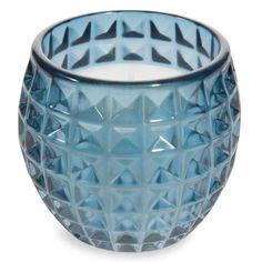 Bougie en verre bleu H 9 cm SPIKEY