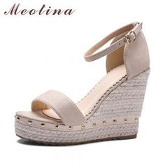 Cheap sandals summer, Buy Quality women sandals summer directly from China sandals rivets Suppliers: Meotina Women Sandals Summer 2017 Platform Sandals High Heels Shoes Ankle Strap Ladies Sandals Rivet Casual Footwear Pink Black Platform Wedge Sandals, Platform High Heels, High Sandals, Wedge Heels, Nude Sandals, High Shoes, Black Wedge Sandals, Platform Sneakers, Ankle Strap Wedges