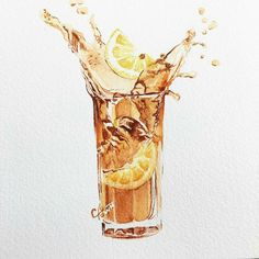 Iced tea with lemon Watercolor Food, Watercolor Illustration, Watercolour, Food Drawing, Drawing Art, Pinterest Instagram, Food Sketch, Food Painting, Food Illustrations