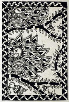 madhubani black and white birds