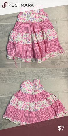 Toddler Summer Dress Pink and purple gingham with flowers summer dress Blueberi Boulevard Dresses Casual