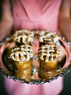 Miniature individual personal pies. I mean. Why not? | Barn Wedding Inspiration from Amy Rae Photography - Southern Weddings Magazine  | LFF Designs | www.facebook.com/LFFdesigns