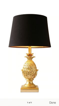 Description: Pineapple Table Lamp C/w Black Faux Silk Shade Materials: Hand  Cast Resin In Gold Finish Dimensions: X Dia.