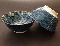 """2 PCS. 6""""D Japanese Porcelain Rice Soup Noodle Bowls Blue Floral, Made in Japan"""