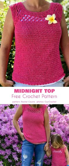 Midnight Top Free Crochet Pattern - Claudia Roettinger - Midnight Top Free Crochet Pattern Midnight Sleeveless Top Free Crochet Pattern Fashionable top for hot weather in any size - Crochet Tank Tops, Crochet Summer Tops, Crochet Shirt, Crochet Lace, Crochet Stitches, Free Crochet, Crochet Womens Tops, Knitting Patterns, Crochet Patterns