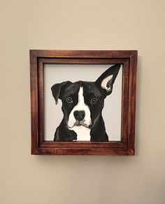 Custom Dog Portraits are a great gift for dog lovers. Life would not be the same without dogs. We have two wild boxers here at the Treehouse and we are obsessed with them.  The portraits are Mug Shot Style- showcasing the head and chest with a simple solid background. You get to