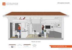 """""""25 kvadrat romantik"""" Ett vackert och funktionellt attefallshus med två sovloft som skapar en mysig atmosfär med det höga mellanpartiet med infällda ledspottar. Sovloften rymmer 180 sängar. Inredning anpassas efter kundens önskemål. Välkommen! www.attefalls.se Tiny Cabins, Tiny House Cabin, Small House Plans, Backyard Guest Houses, Arched Cabin, Self Build Houses, Micro House, A Frame House, Compact Living"""