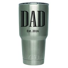 'Dad' decal / sticker for Yeti Rambler / Ozark Trail / RTIC / Orca Chaser tumblers. This decal is made with premium outdoor sign vinyl with a minimum outdoor life span of five years. So this sticker w
