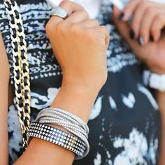 Annabelle knows how to put a sparkling #armparty together.  #banglemania Photo courtesy of www.vivaluxury.blogspot.com