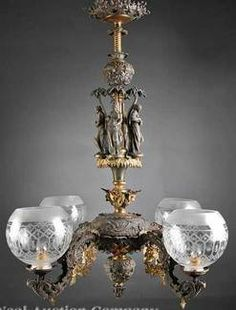 Victorian Rococo Revival Patinated And Gilt Metal Four Light Gasolier (Gas Chandelier), Baluster Standard With Four Maidens Under Palm Trees, Scrolled Arms, Each earing An Etched Glass Globe Shade - American Victorian Lighting, Victorian Lamps, Antique Lighting, Chandelier Lighting, Modern Victorian, Victorian Era, Old Lamps, Antique Lamps, Antique Chandelier