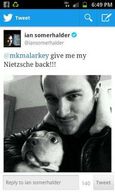 Michael Malarkey, aka Enzo, kidnapped Nietzsche,,,Ian wants her back,, :) <3