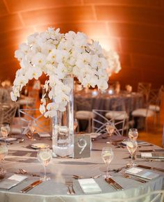 Beautiful arrangement of white orchids! Photography: Drew B Photography // Featured: TheKnot.com
