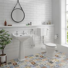 Carlton Low Level Bathroom Suite - Low level toilet with basin and full pedestal at Victorian Plumbing UK Bathroom Ideas Uk, Small Bathroom Layout, Simple Bathroom Designs, Small Bathroom With Shower, Modern Bathroom Design, Bathroom Interior Design, Bathroom Inspiration, Small Bathrooms, Bathroom Gallery