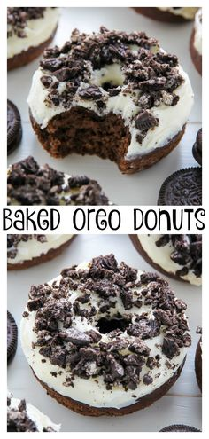 Oreo Cookies and Cream Donuts - Baker by Nature cake pops cake cake desserts desserts dulces en vaso faciles gourmet navidad Baked Donut Recipes, Baked Donuts, Baking Recipes, Dessert Recipes, Mini Donuts, Oreo Donuts, Oreos, Homemade Oreo Cookies, Homemade Donuts