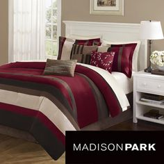 @Overstock - This striped comforter set is a great way to update your bedroom decor with minimal spend! Super soft to the touch, this contemporary seven-piece bedding set features sultry shades of red, ivory and brown and will add a splash of luxury to your bedroom.http://www.overstock.com/Bedding-Bath/Madison-Park-Boulder-Stripe-7-piece-Comforter-Set/5480010/product.html?CID=214117 $109.99