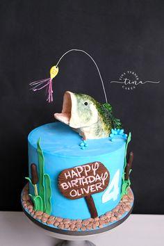 Fish Cake Birthday, Themed Birthday Cakes, Themed Cakes, 4th Birthday, Fish Cake Pops, Bass Fish Cake, Fishing Theme Cake, Fisherman Cake, Tina Turner