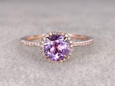 Stunning Amethyst Halo Engagement Ring