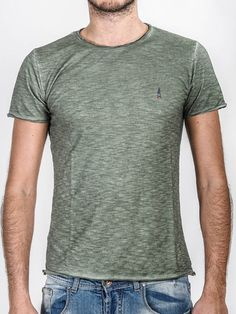 CLASSIC COLLECTION - T-Shirt Military Green Tinto Freddo - Made in Italy - 100% Slub Cotton #doubleexcess #classic #monochrome #monochromatic #monocolor #onecolor #basic #madeinprato #madeinitaly