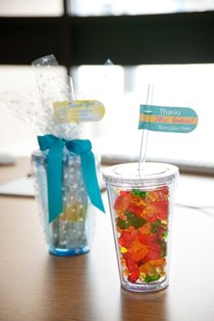 Tumbler filled with gummy bears or lemonade mix and a cute tag. So much fun to give!