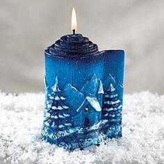 Winter Scene Candle, Artisan Table