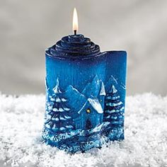 Winter Scene Candle, Artisan Table