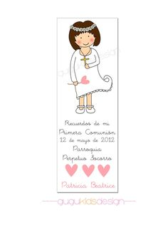 DIY Printable- Girl (Patricia) First  Communion Favor Bookmark. $10.00, via Etsy.