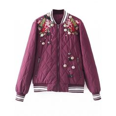 Choies Burgundy Embroidery Floral Button Embellished Padded Jacket (175 BRL) ❤ liked on Polyvore featuring outerwear, jackets, red, red jacket, burgundy jacket, padded jacket, red padded jacket and embroidered jacket
