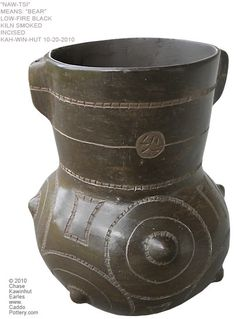 Nawtsi, Bear,  traditional Caddo Indian jar made by Chase Kahwinhut Earles. www.CaddoPottery.com
