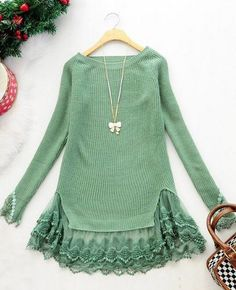 Sexy Womens Scoop Neck Long Sleeve Lace and Wool Pieced Tunic Style Sweater Tops Diy Fashion, Ideias Fashion, Autumn Fashion, Fashion Women, Ribbed Sweater, Pullover Sweaters, Lace Sweater, Sweater Dresses, Mode Chic
