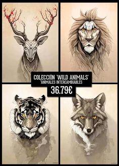 Image of Colección Wild Animals (cuatro láminas intercambiables 42x29 cm)