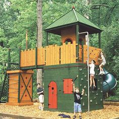 Have the coolest yard in town with this play structure. The main tower is 7'X7' and has a clubhouse, a climbing wall, a fire pole, and a turbo tube slide. The small tower is 3'x3' and has 2 dynamic bar ladders, a carge net, and a working flagpole. The 10' bridge between them has two swings underneath.