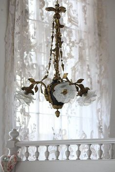 Vintage shabby chic rose chandelier