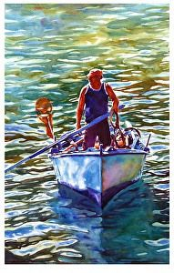 """Been fishing by Graham Berry Watercolor ~ 19"""" x 12"""""""