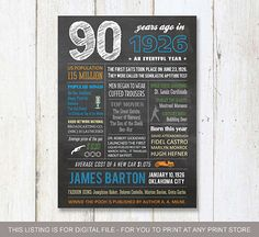 SALE Personalized 90th birthday chalkboard poster by LillyLaManch