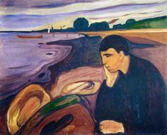 """""""Malinconia"""" (1892) è un olio su tela di 64 x 96 cm firmato da Edvard Munch, il celeberrimo pittore novergese. Ho utilizzato questa immagine per il mio sonetto """"Amici e conoscenti"""". Il tema è quello dell'amicizia. http://marchingegno88.blogspot.it/2014/04/errori-giovanili-scelti-v.html"""