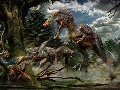 El Qianzhousaurus peleándose con otros dinosaurios.