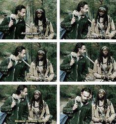 """Loved the scene;  Rick & Michonne,  Season 4 finale  """"A""""."""