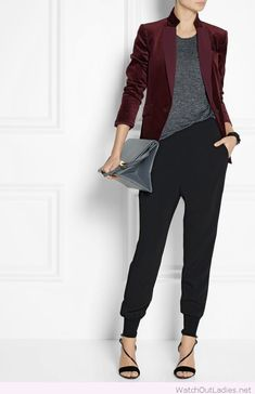 Black pants, grey tee and burgundy blazer