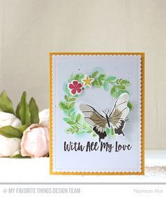 Beautiful Butterflies Stamp Set and Die-namics, You Give me Butterflies Stamp Set, Spring Wreath Stamp Set and Die-namics, Blueprints 27 Die-namics - Yoonsun Hur  #mftstamps