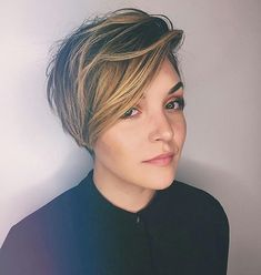 Rooty Caramel-Blonde Long Layered Pixie Cut with Dramatic Side Part