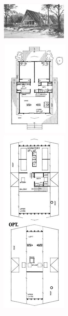 A-Frame House Plan 91209 | Total Living Area: 1482 sq. ft., 3 bedrooms and 2.5 bathrooms. Copyright by designer. #aframe