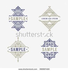 Set of Line Art Decorative Geometric Vector Frames and Borders. Vector Illustration. Vector Design Elements. Vintage Decoration