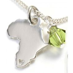AFRICA on Silver Chain with Swarovski Crystal  (8day waiting period)